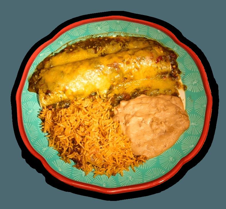 Burrito with Paulita's Green Chile Sauce and Spanish Rice